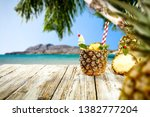 fresh pineapple fruits and... | Shutterstock . vector #1382777204