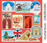 set of travel stickers. world... | Shutterstock .eps vector #1382801084