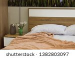bedroom interior  tulip bouquet ...   Shutterstock . vector #1382803097