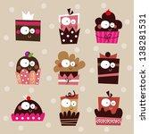 cute cupcake set  birthday... | Shutterstock .eps vector #138281531