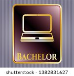 golden badge with laptop icon... | Shutterstock .eps vector #1382831627