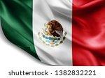 mexico flag of silk 3d... | Shutterstock . vector #1382832221