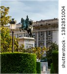 Small photo of Equestrian statue of King Fillip IV in front of Royal Palace in Madrid, Spain