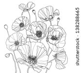coloring book with some poppies | Shutterstock . vector #138288665