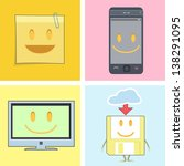 set of cute icons. postit ... | Shutterstock .eps vector #138291095