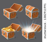wooden chest. treasure coffer ... | Shutterstock .eps vector #1382911991
