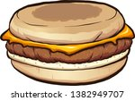 sausage egg and cheese muffin... | Shutterstock .eps vector #1382949707