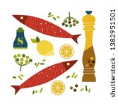 flat hand drawn vector seafood...   Shutterstock .eps vector #1382951501