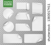 paper stickers set. white label ... | Shutterstock .eps vector #1383017411