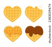 heart shaped belgian waffles.... | Shutterstock . vector #1383039674