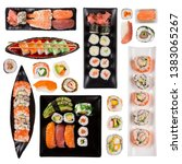 top shot of japanese sushi set... | Shutterstock . vector #1383065267