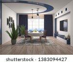 interior dining area. 3d... | Shutterstock . vector #1383094427