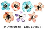 7 hand drawn watercolor red ... | Shutterstock . vector #1383124817