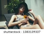 young fashionable woman in...   Shutterstock . vector #1383139337