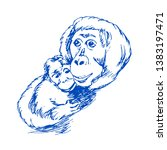 monkey with cub drawing on... | Shutterstock . vector #1383197471