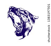 panther head on a white... | Shutterstock . vector #1383197501