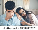sad woman with man in home | Shutterstock . vector #1383208937