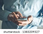 man hand phone with  network in ... | Shutterstock . vector #1383209327