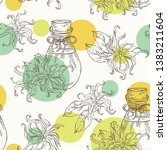 seamless pattern with ylang... | Shutterstock .eps vector #1383211604