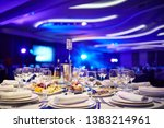 a large hall with laid tables...   Shutterstock . vector #1383214961