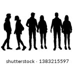 vector silhouettes of  man and... | Shutterstock .eps vector #1383215597