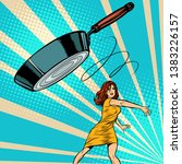 woman throws a frying pan. pop... | Shutterstock .eps vector #1383226157