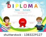 certificates kindergarten and... | Shutterstock .eps vector #1383229127