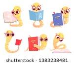 bookworms cartoon. back to... | Shutterstock .eps vector #1383238481