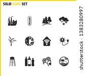 eco icons set with thermometer  ...