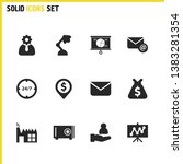 trade icons set with letter for ...