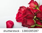 bouquet of red roses around... | Shutterstock . vector #1383285287