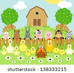 farm background with funny... | Shutterstock .eps vector #138333215