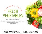 mixed vegetables on white table.... | Shutterstock . vector #138333455