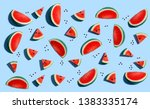 sliced watermelons arranged on... | Shutterstock . vector #1383335174