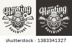 vintage monochrome boar hunting ... | Shutterstock .eps vector #1383341327