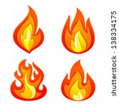 fire flames set  isolated on... | Shutterstock .eps vector #138334175