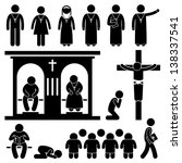 Christian Religion Culture Tradition Church Prayer Priest Pastor Nun Stick Figure Pictogram Icon