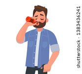 man drinking beer from a bottle.... | Shutterstock .eps vector #1383436241