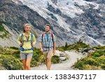 hiking travel hikers people... | Shutterstock . vector #1383437117