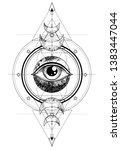 eye of providence. masonic... | Shutterstock .eps vector #1383447044
