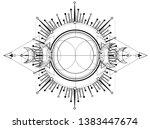 triple moon pagan wicca moon... | Shutterstock .eps vector #1383447674