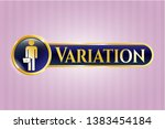 gold shiny emblem with... | Shutterstock .eps vector #1383454184