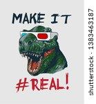 slogan with dinosaur head in 3d ...   Shutterstock .eps vector #1383463187