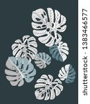 vector tropical pattern with... | Shutterstock .eps vector #1383466577