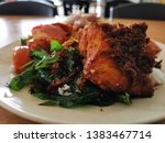 a plate of food containing...