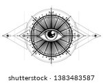 eye of providence. masonic... | Shutterstock .eps vector #1383483587