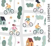 people riding on bicycles in... | Shutterstock .eps vector #1383499244
