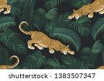 the stalking wild jaguar and... | Shutterstock .eps vector #1383507347