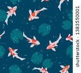 seamless pattern of carp fish... | Shutterstock .eps vector #1383550001