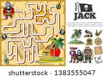 cartoon pirate treasure hunt... | Shutterstock .eps vector #1383555047